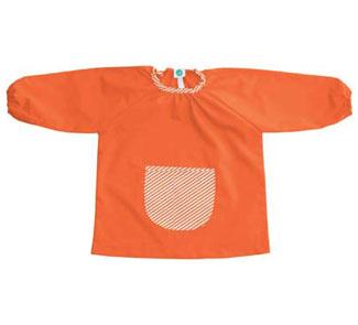 Bata niño t.1 lisa gomas cuello y puño, bolsillo delantero cuadros