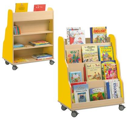 Mueble piramide expositor de libros con ruedas lateral de - Estanteria libros infantil ...