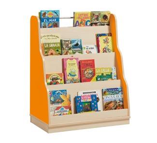 Mueble piramide expositor de libros con zocalo lateral de for Mueble libreria infantil