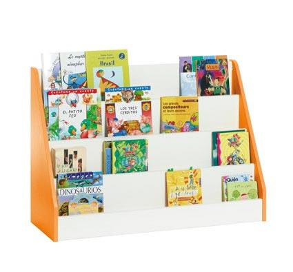 Biblioteca white expositor de libros grande tienda hermex for Mueble libreria infantil
