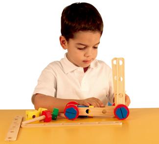Juego de construcción mecanico en madera 48 piezas