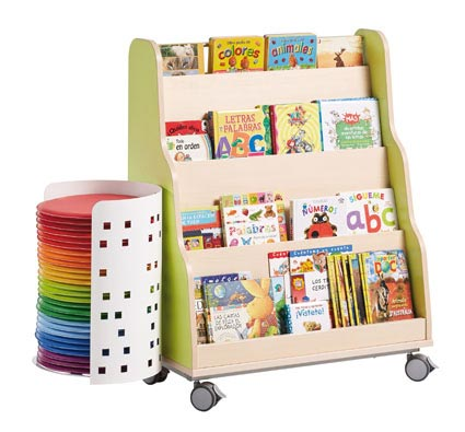 Maxi mueble piramide expositor de libros con ruedas - Mueble biblioteca infantil ...
