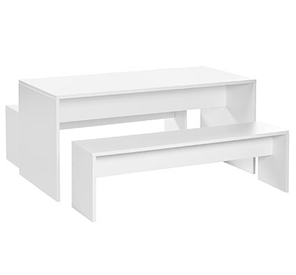White children's table with two benches 130 x 65 cm T3
