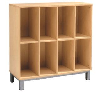 Mueble para guardar mochilas 8 casillas sin puertas la for Muebles para libros