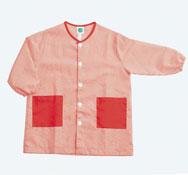 Bata niño t.3 cuadros parte trasera lisa, abotonada 2 bolsillos lisos rojo