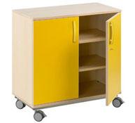 Mueble b+ruedas 2 estant. puerta con cerradura