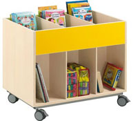 Double-sided library unit with wheels