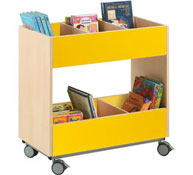 Double-height library unit with wheels