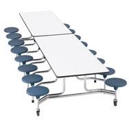 Rectangular folding table 12 seats back 61 cm