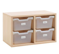 Organizer unit with trays (included)