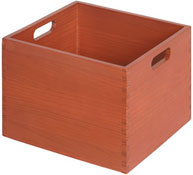 Cubeta madera maxi c/ruedas rojo coral