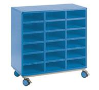 Mueble citrus con ruedas + 18 casillas azul