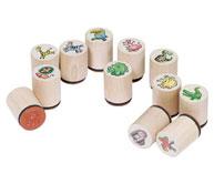 Tampones sellos de madera animales 24 unidades