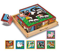 Puzzle cubo animales de granja