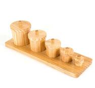 Botes de madera las medidas set de 5 botes