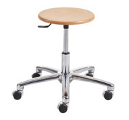 Stool with base and chromed casters (46 to 64cm).