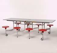 Mesa desplegable rectang. 8 asientos tablero  altura 68 cm