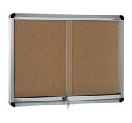 Vitrina horizontal fondo corcho puertas correderas 200x100 cm