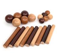 Juego de cilindros y bolas de madera 21 piezas