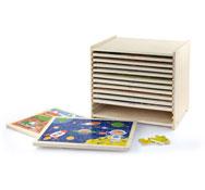 Gran set de 12 puzzles de 24  piezas con caja con estantes lote de 12