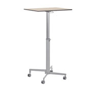 High table teacher adjustable in height. Wheel feet. Board 70 x 50