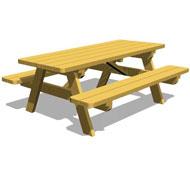 Mesa de picnic con bancos de  2m  largo tp46
