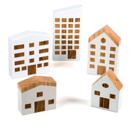 Casas de madera de la ciudad en miniatura Pack de 5