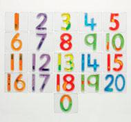 Baldosas con números 0-20 blandos y resplandecientes Pack de 21 unidades