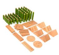 Bloques de construcción de bambú -set pack de 80 pizas