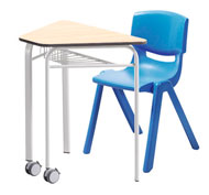 Conjuto Pupitre easy triangular Haya 80 x 50 x 20 con ruedas t6 + Silla Funny T6 Azul
