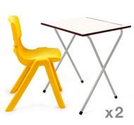 Mesa Plegable Examen (Altura 73 cm) + silla Funny T6 set de 2 mesas + 2 sillas