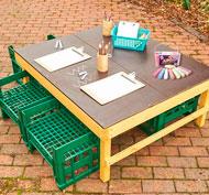 Conjunto de mesa pizarra y 4 asientos set 5 piezas