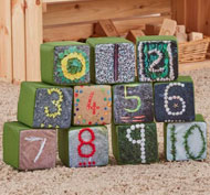 Cubos los números estampados materiales naturales set de 11 cubos
