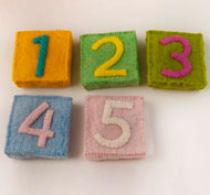 Cuadrados de fieltro los números set de 12 piezas