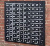 Pizarra con cuadricula de exterior con números del 1 al 100 la unidad