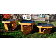 Mesas de experimentación con bandeja y zona de almacenaje set de 3 piezas