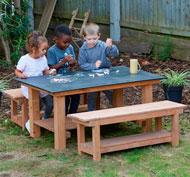 Mesa pizarra con bancos set de 3 piezas