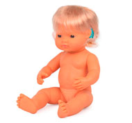 Muñeca bebé europea con implante coclear 38cm