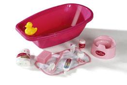 Bañera y accesorios para muñecas el conjunto