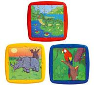 Puzzles los animales en vía de extinción el rinoceronte, el aligátor lote de 3