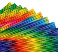 Cartón ondulado con olas arco iris los 10