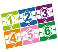 Decorados adhesivos para triciclos los números lote de 6