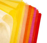 Hojas de papel de seda colores cálidos los 20