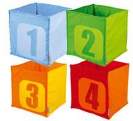 Cubetas de tela números los 4
