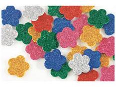 Figuras con purpurina en gomaespuma adhesiva flores aprox. 500
