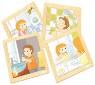 Maxi lote puzzle hugo y clara la higiene lote de 4
