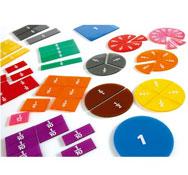Cuadrados y discos de fracciones transparentes, escritura de fracciones maxi lote el conjunto