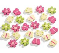 Figuras en madera decoradas flores y mariposas los 25