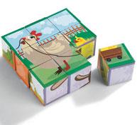 Puzzle 9 cubos los animales de la granja la unidad