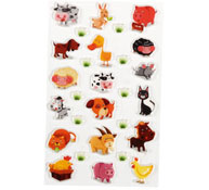 Animales 18 gomets relieve 3d los 18